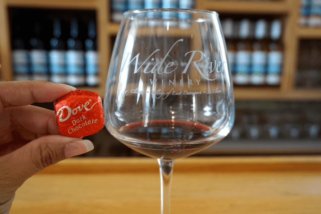 Iowa wineries include Wide River Winery with wine and chocolate