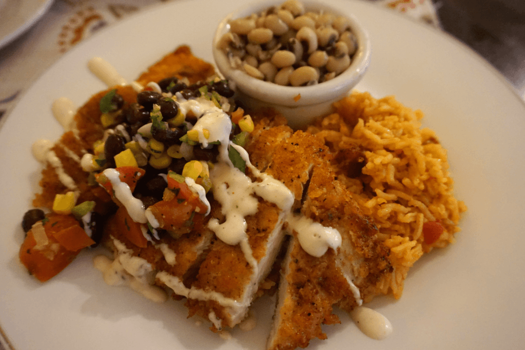 Crispy chicken with black bean and corn pico at Main Street Market