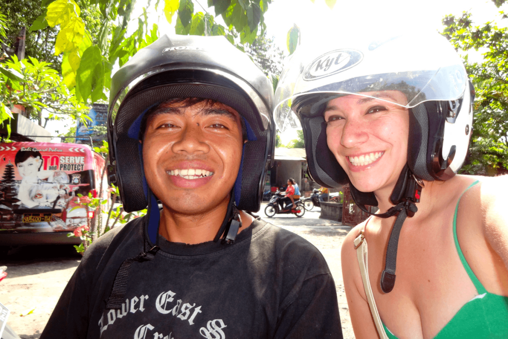 Riding on a scooter in Bali