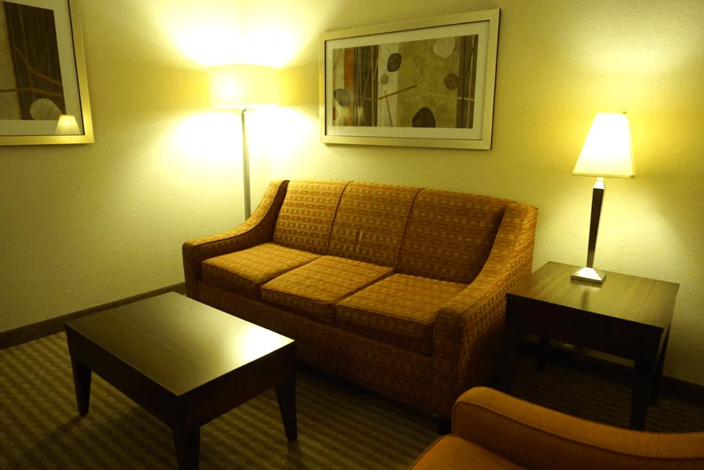 Our living room area in our Hampton Inn & Suites Boynton Beach room