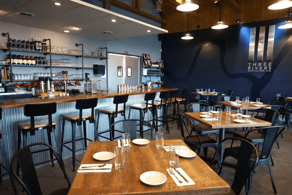 The Three Rivers Distilling Co. restaurant and bar