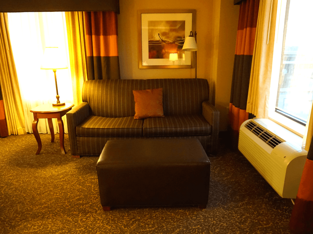 Sitting area in our suite at the Hampton Inn Pittsburgh Downtown