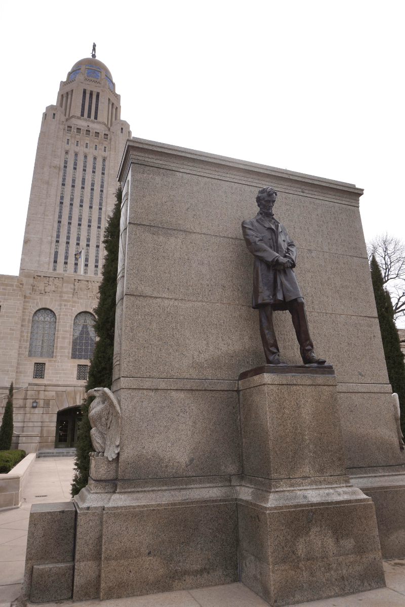 Lincoln Monument on the west side of the Nebraska State Capitol