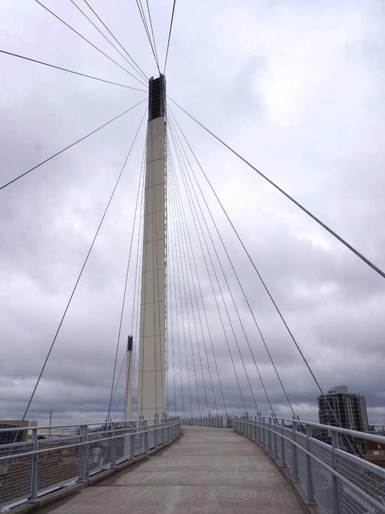 The bridge has twin 203 ft pylons as anchors and 80 steel cables supporting its deck.