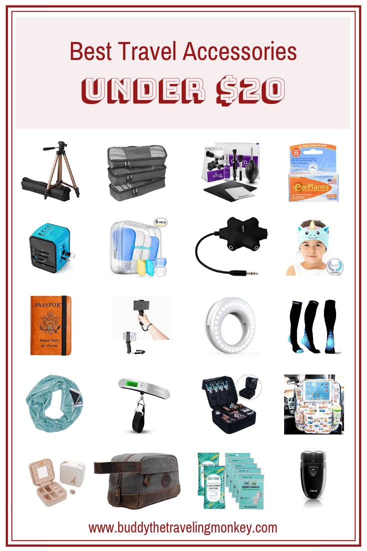 Check out the best travel accessories under $20! Perfect travel gifts for women, men, and kids. We have listed 20 fun travel gifts that won't break the bank!