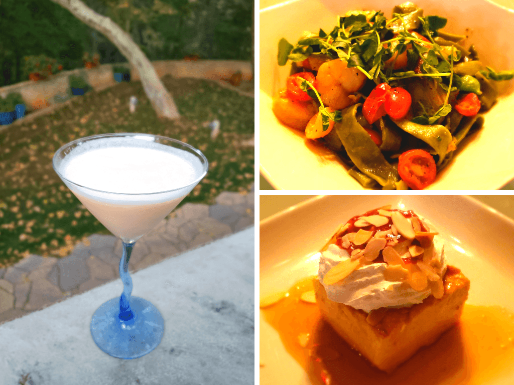 Creamsicle Martini, Shrimp Fettuccine Pasta, and Flan from Pump House Station