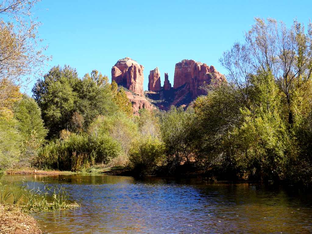 Cathedral Rock can be seen from Crescent Moon Ranch