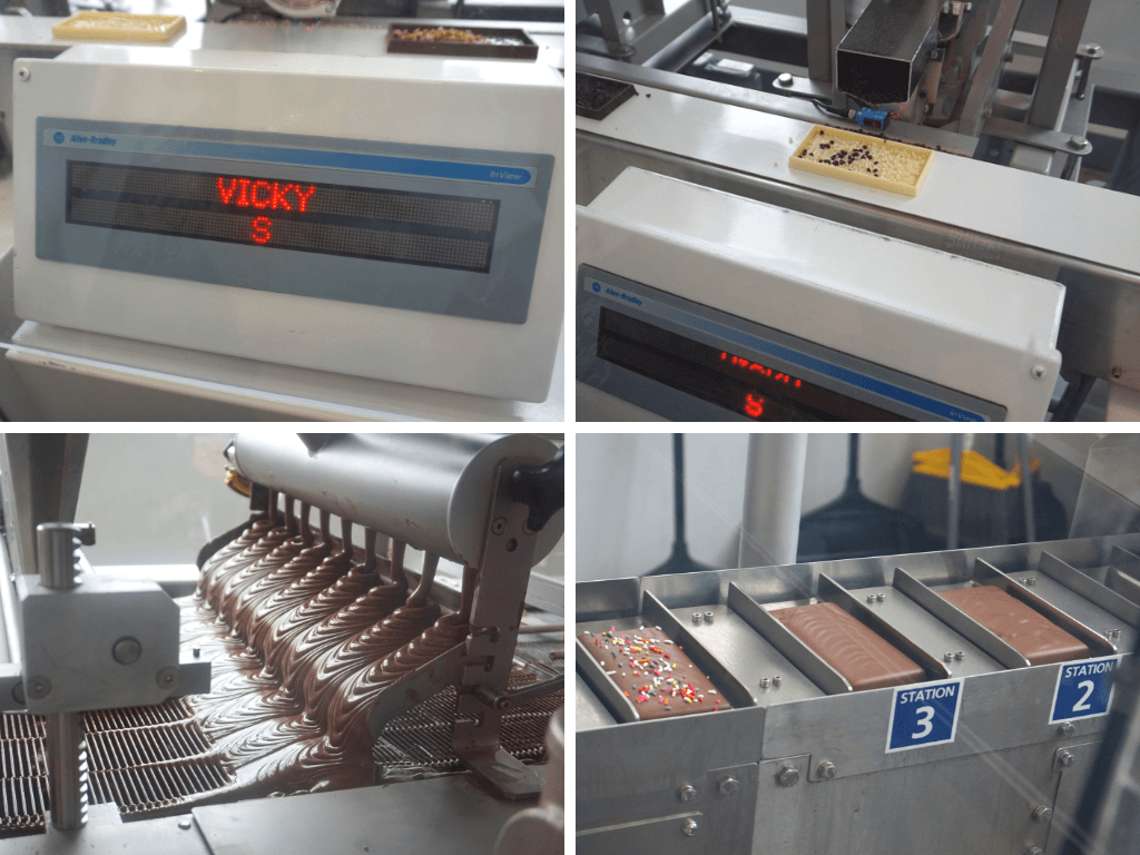 Various stages of the candy bar making process at Hershey Chocolate World