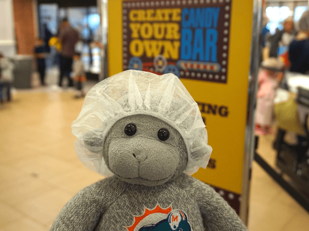 Buddy is ready to make a candy bar at Hershey's Chocolate World