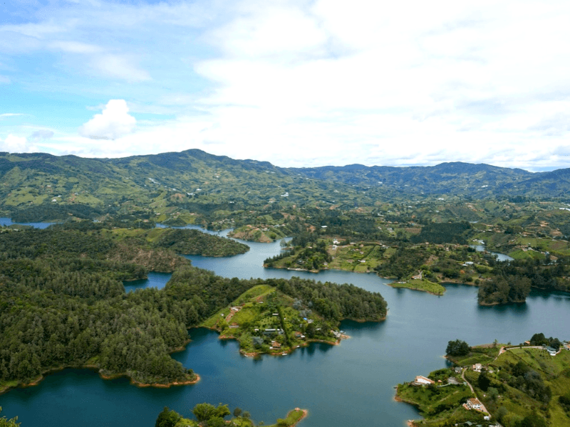 Our view from El Peñon de Guatape in Colombia