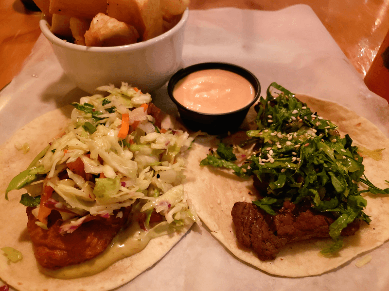 Asada Zing Taco and Shrimp Tempura Taco from Taqueria Tsunami, one of the Marietta Square restaurants
