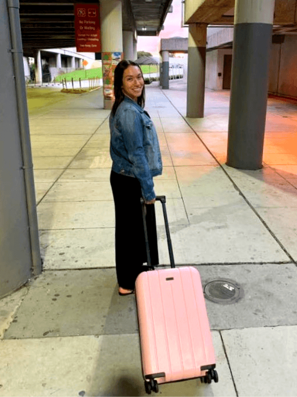 At the airport with our Chester Minima Carry-On
