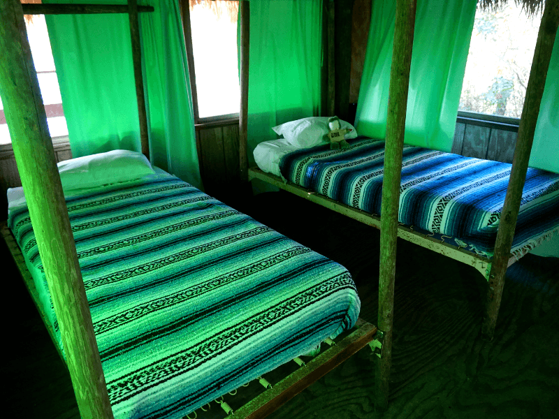 Inside our chickee hut