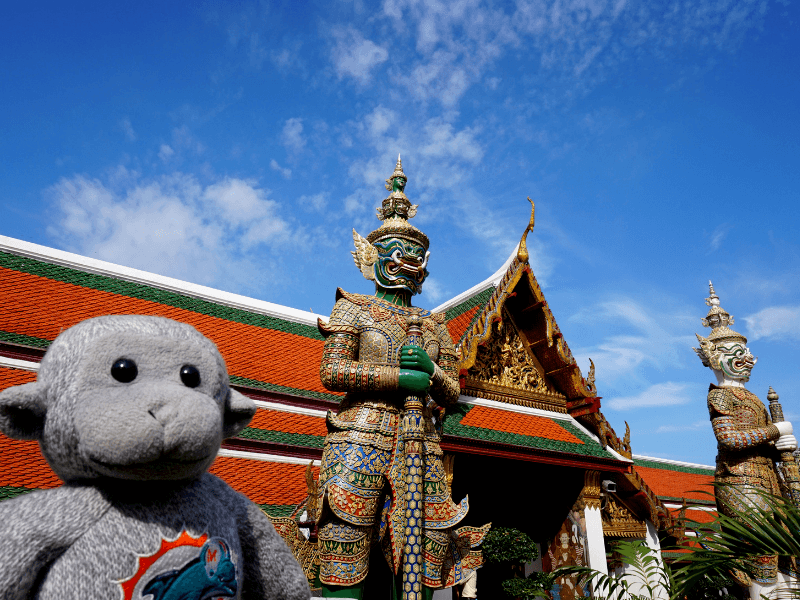 Buddy at one of the many temples in Thailand