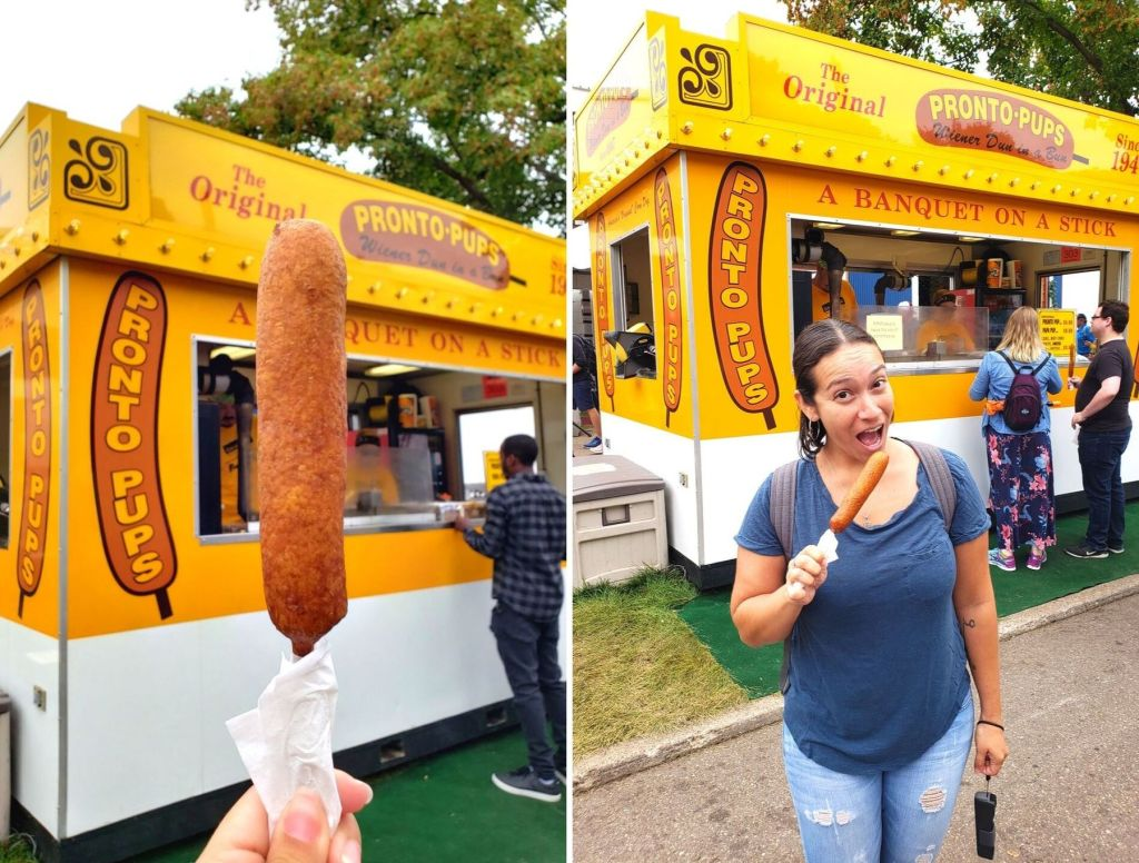 Eating a Pronto Pup at the Minnesota State Fair