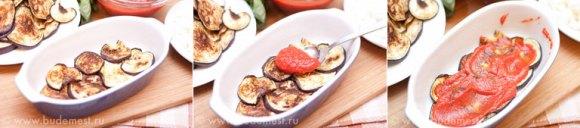 Укладываем слой баклажанов и смазываем его томатным пюре
