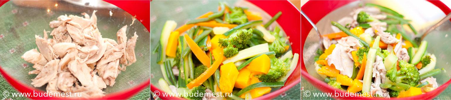 Теплый салат из курицы с овощами