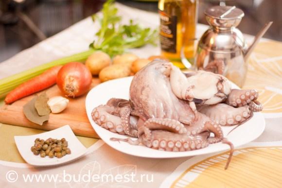 Ингредиенты для теплого салата с осьминогом