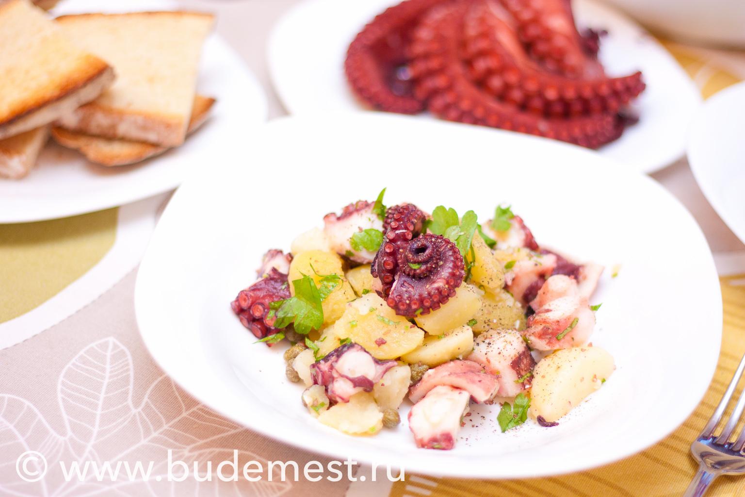 Готовый теплый салат с осьминогом