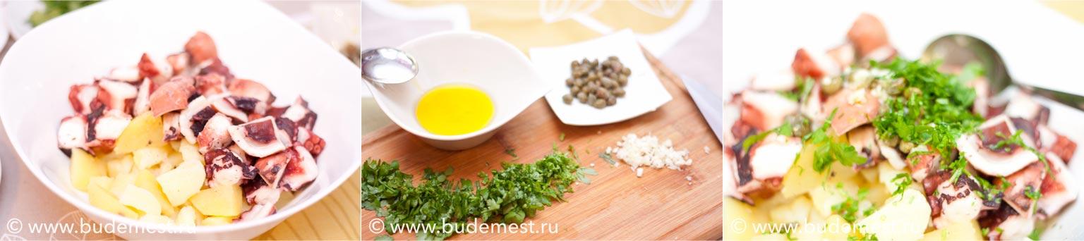 Нарезаем картофель средними кубиками, осьминога и смешиваем с заправкой