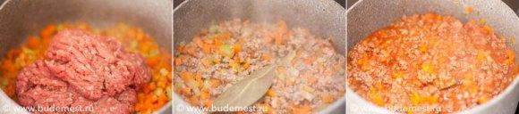 Приготовление рагу для лазаньи