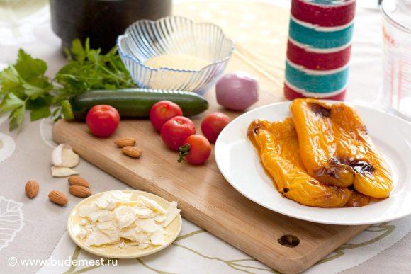 Ингредиенты для приготовления кускуса с песто из петрушки и овощами на гриле