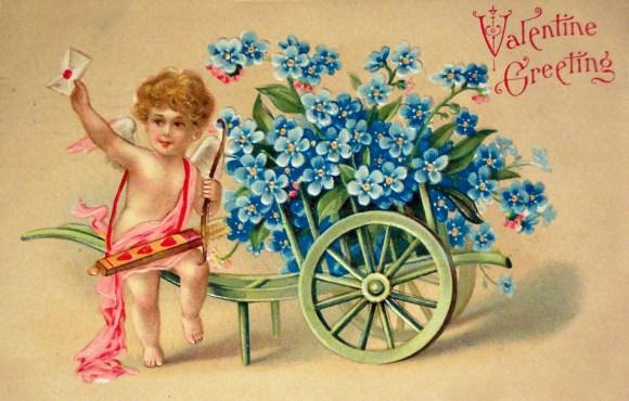 Антикварная открытка с днем Святого Валентина