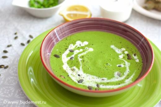 Суп пюре из зеленого горошка.