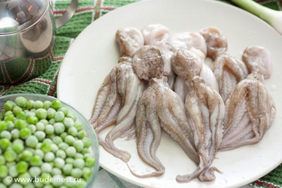 Осьминожки москардини и зеленый горошек