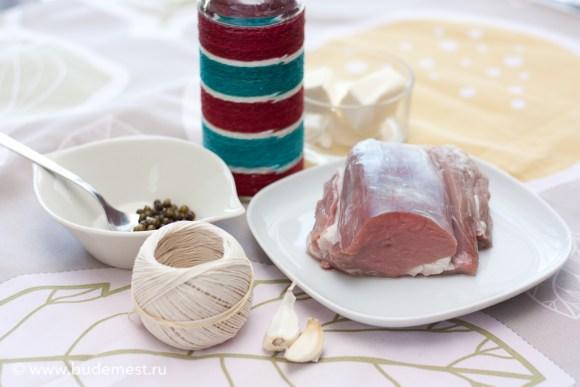 Ингредиенты для приготовления говяжьего филе с перцем зеленым горошком