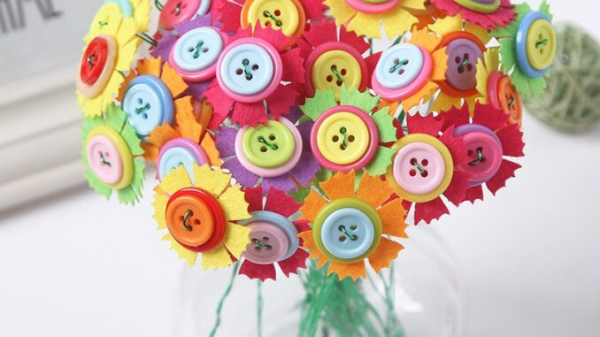Dress Up With Button Flowers Blooming Buttons Craft Ideas