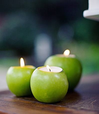 Unique and Simple Centerpieces  Apple Candle Holders