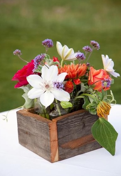 Wildflowers in Wooden Box Centerpieces