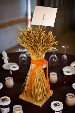Wheat Centerpieces for Fall Weddings