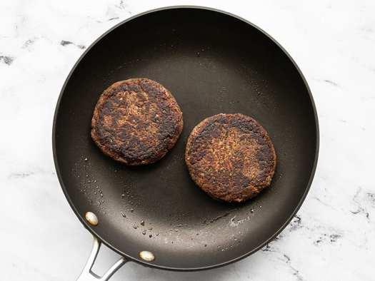 Black bean burgers in a skillet