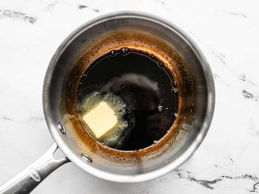Butter added to the balsamic reduction