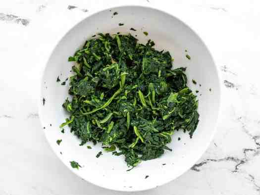 Thawed and squeezed frozen spinach