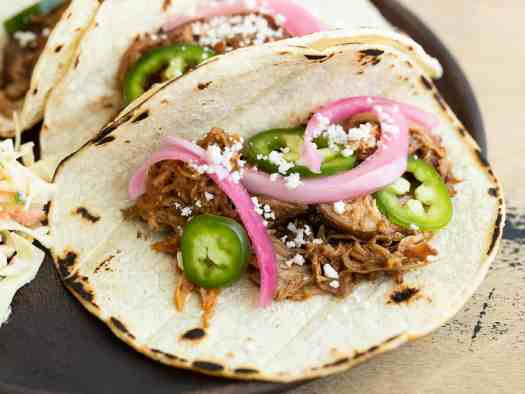 Close up of a chili rubbed pulled pork taco