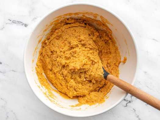Sweet potato cornbread batter in the bowl