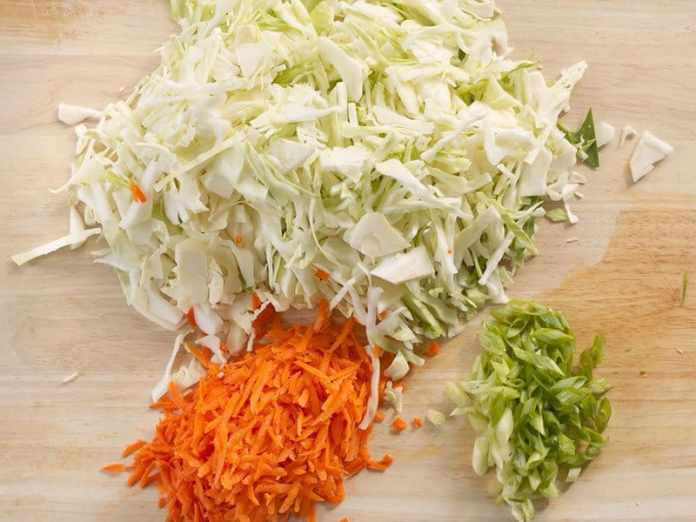 Shredded Vegetables for the Beef and Cabbage Stir Fry