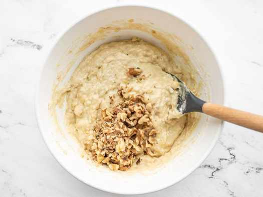 Chopped walnuts added to batter