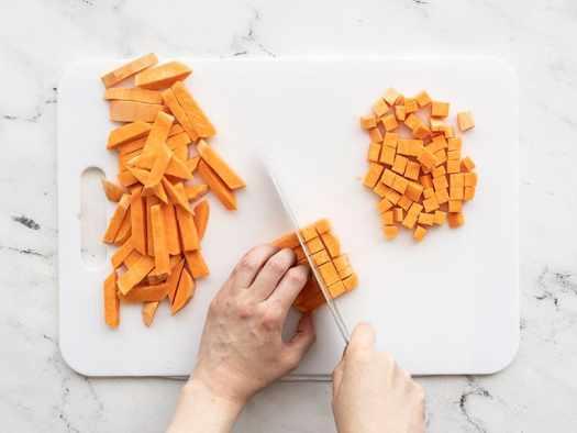 Sweet Potato being diced