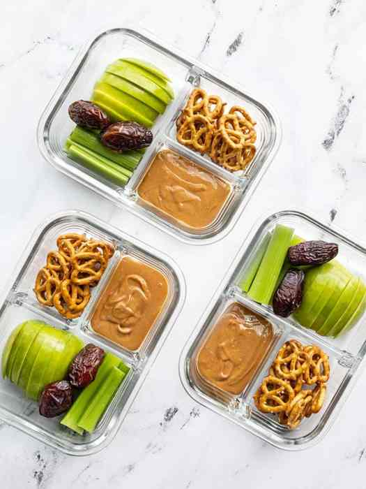 Three peanut butter lunch boxes in glass containers