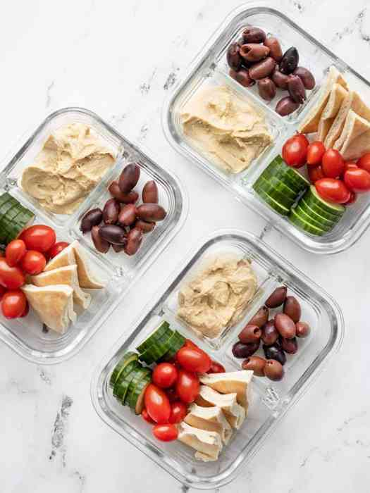 Hummus Lunch Box packed in divided glass containers