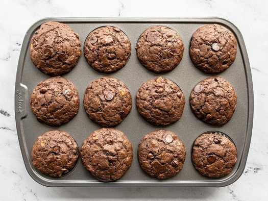 Baked chocolate banana muffins in the muffin tin