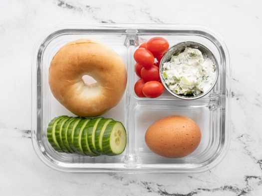 One bagel lunch box in a glass meal prep container