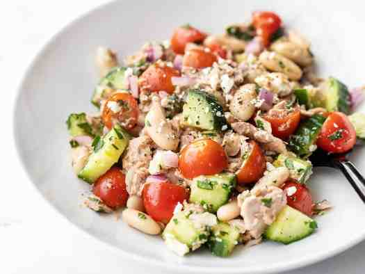 Close up side view of Mediterranean Tuna Salad in a bowl