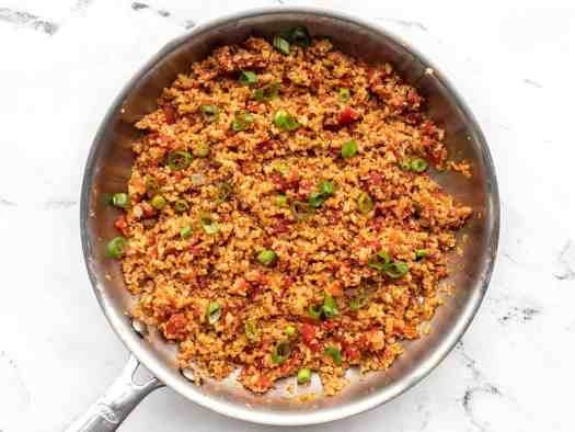 Finished southwest cauliflower rice in the skillet