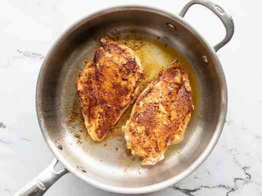 Cooked chicken in a skillet