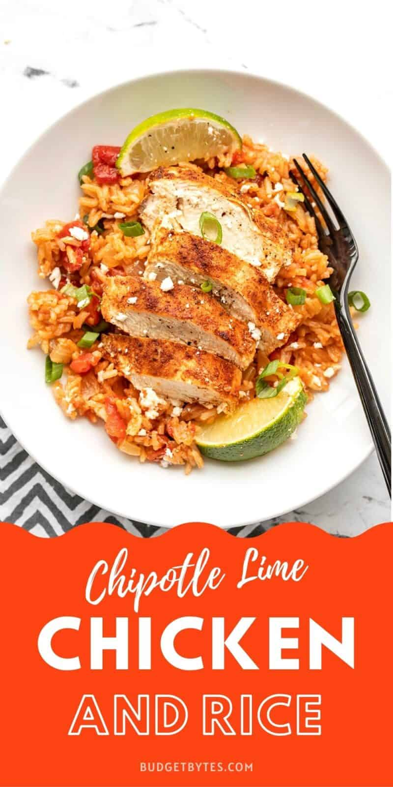 chipotle lime chicken and rice in a bowl, title text at the bottom